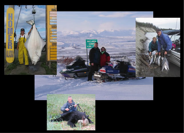 Our adventures include halibut fishing, bear hunting, King, Red, and Silver  salmon fishing on the Kenai River, snowmobiling Alaska, white water rafting, shrimping in Prince William Sound, digging clams from Homer and Clam Gulch.